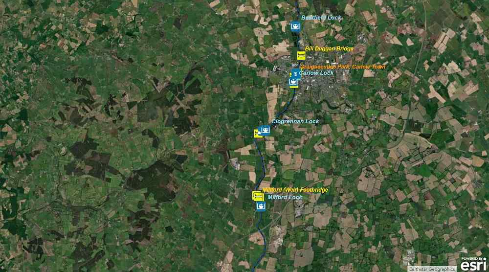 Link to Carlow to Milford; © esri