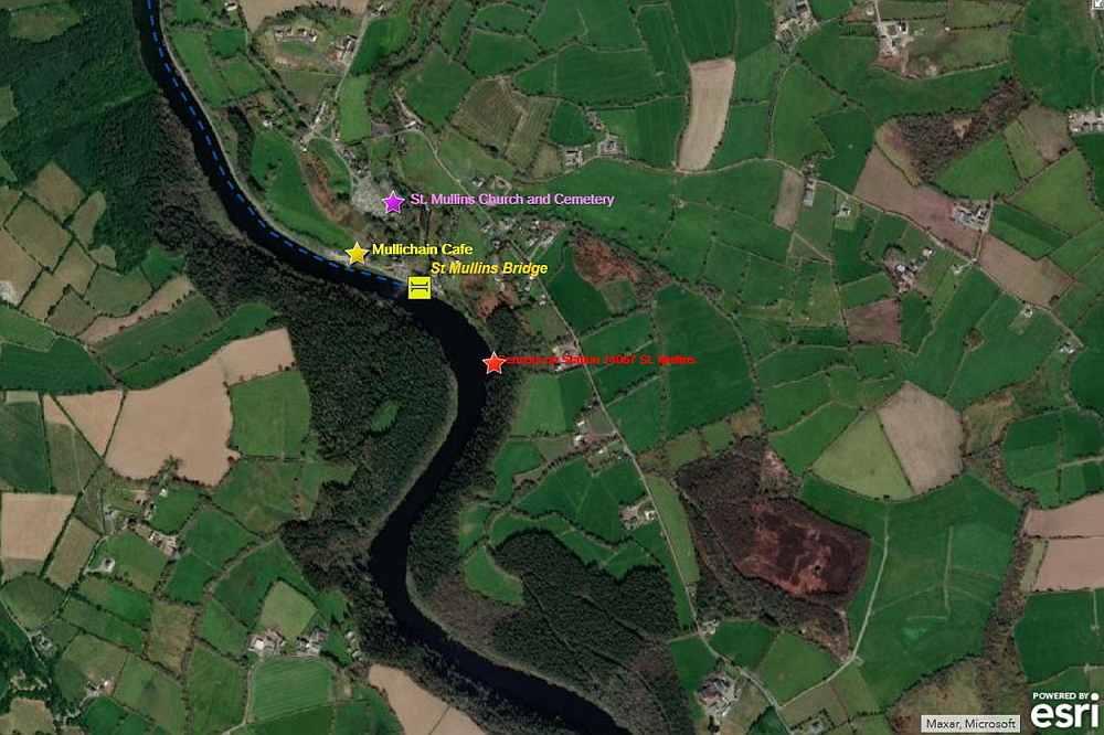 Position St. Mullins Mullichain Cafe; OPW Sensors Station 14067, St Mullins Church; © esri