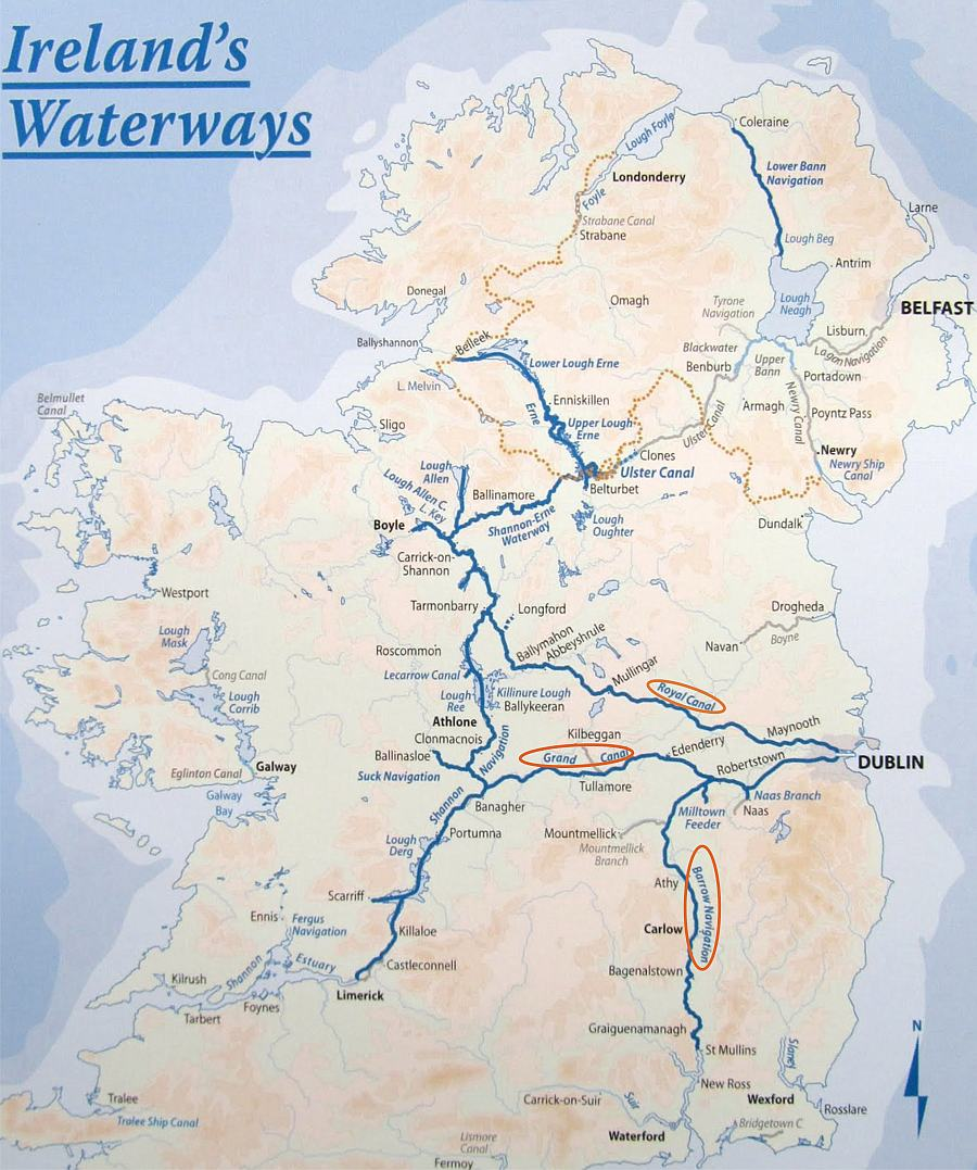 "Map ""Ireland's Waterways; © WI; click to ArcGis-Map ""Shannon-Erne Waterway; © esri"""