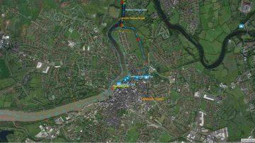 """Sarsfield's Lock; © esri; click to"""" esri-map Limerick-Town and Sarsfield Lock"""""""