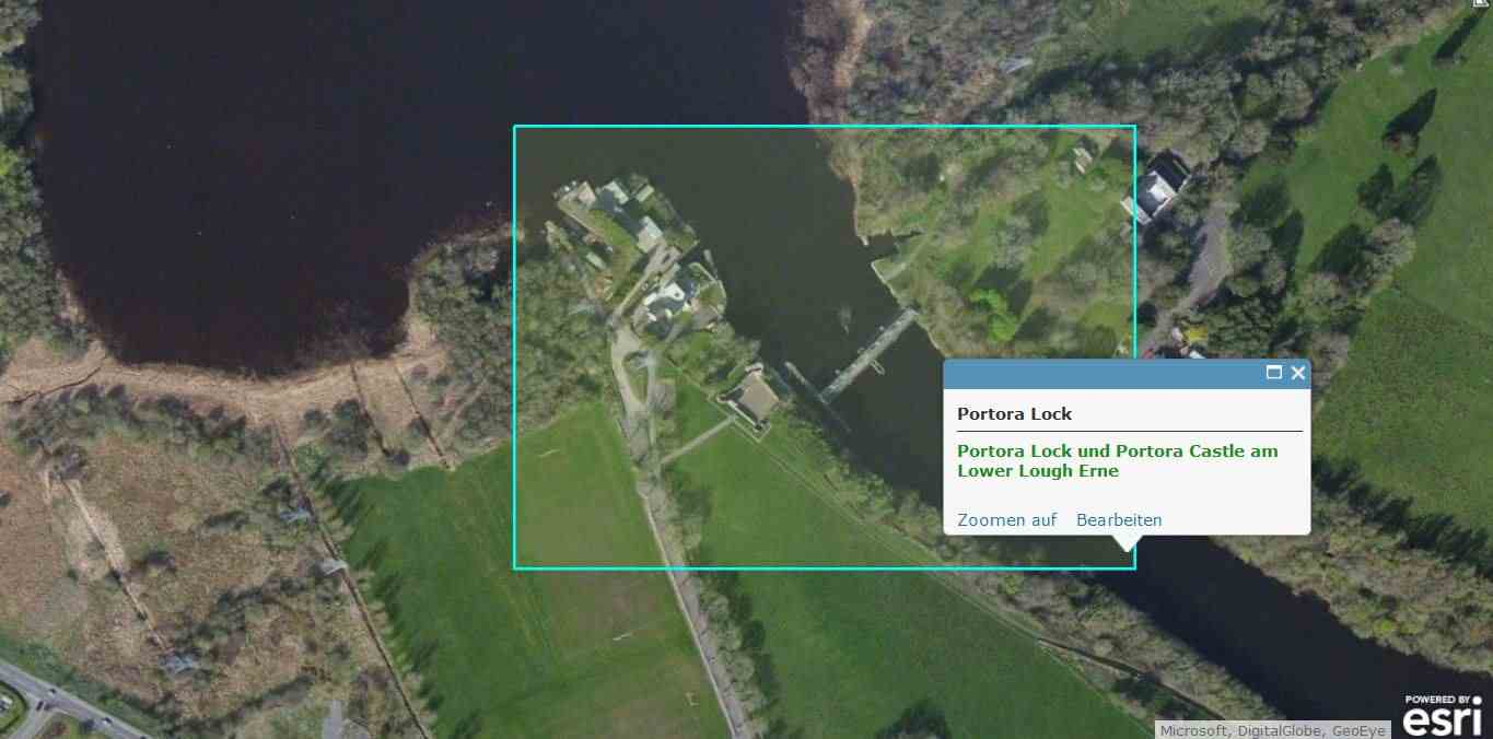 "Portora Lock Lower Lough Erne; © esri; click to Arcgis Map ""Lower Lough Erne"""