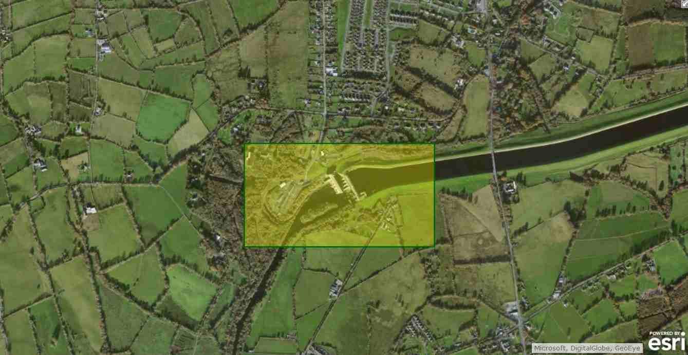 "Ardnacrusha; © esri; click to Arcgis Map ""Limerick to Ardnacrusha"""