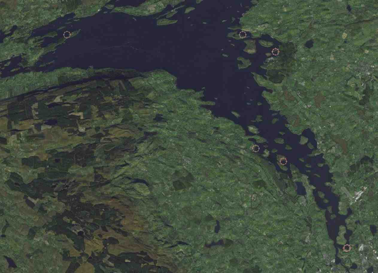 "Proposed Location of Buoy Moorings for Lower Lough Erne; © esri; click to ""esri map"""