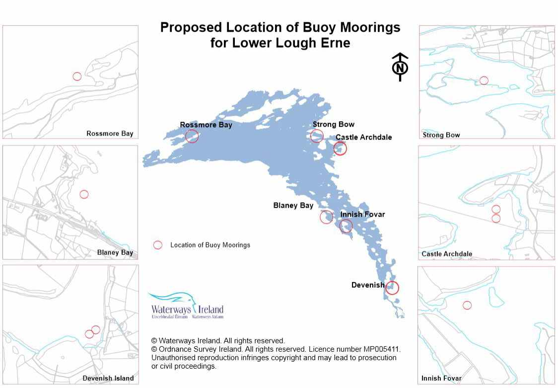 Proposed Location of Buoy Moorings for Lower Lough Erne; © Waterways Ireland. All rights reserved. © Ordnance Survey Ireland. All rights reserved. Licence number MP005411