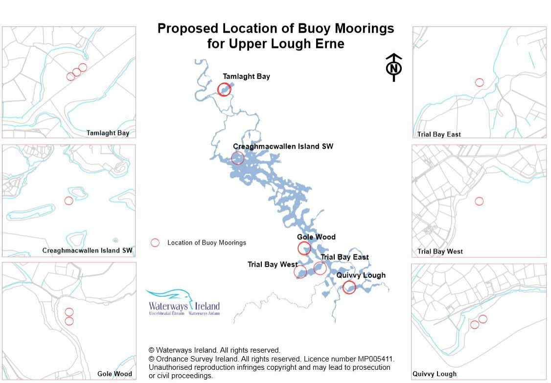 Proposed Location of Buoy Moorings for Upper Lough Erne © Waterways Ireland. All rights reserved. © Ordnance Survey Ireland. All rights reserved. Licence number MP005411