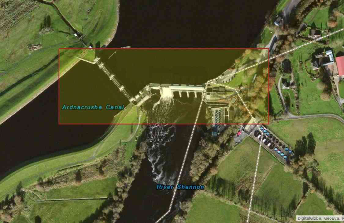 "Ardnacrusha to Limerick; © esri, click picture to ""Esri-Map, Killaloe over Ardnacrusha to Sarsfield Lock"""