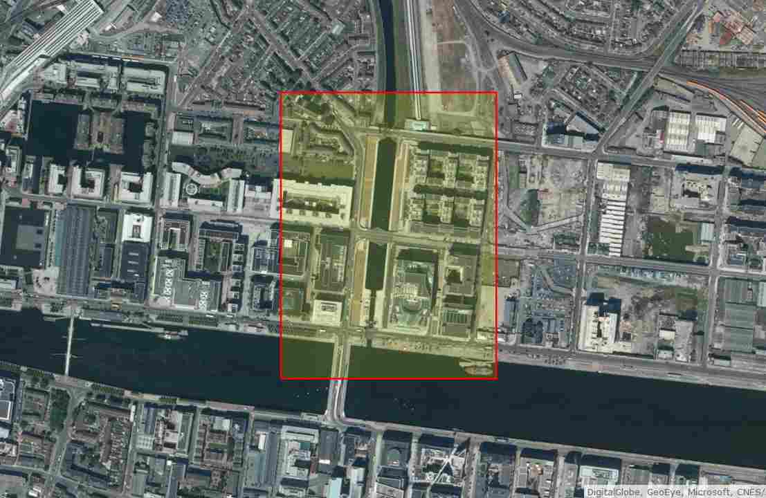 "Spencer Dock Dublin; © esri; click to Arcgis Map ""Spencer Dock Dublin Royal Canal"""
