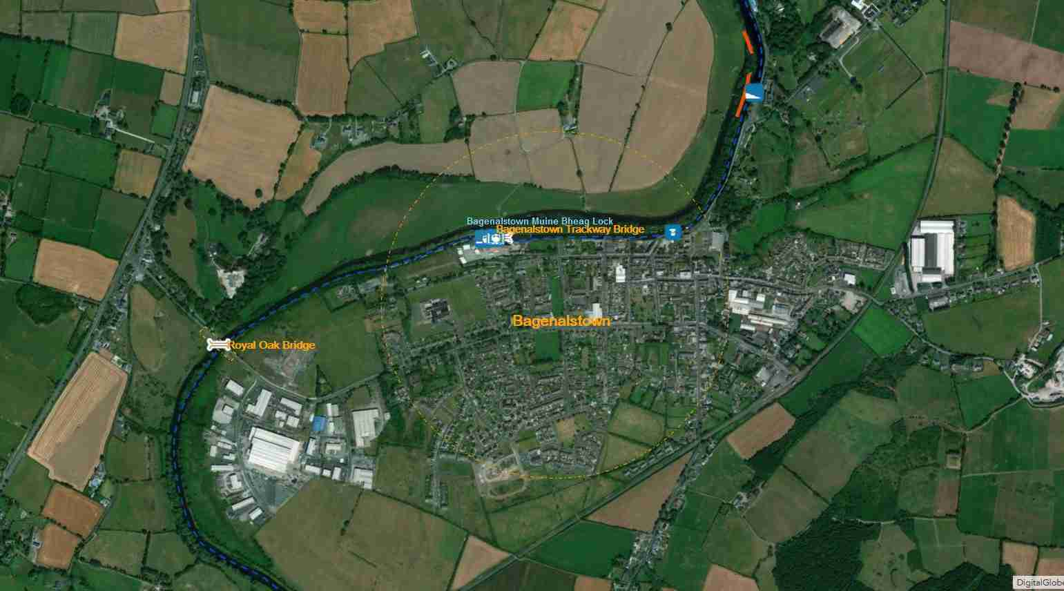 Link to Bagenalstown; © esri