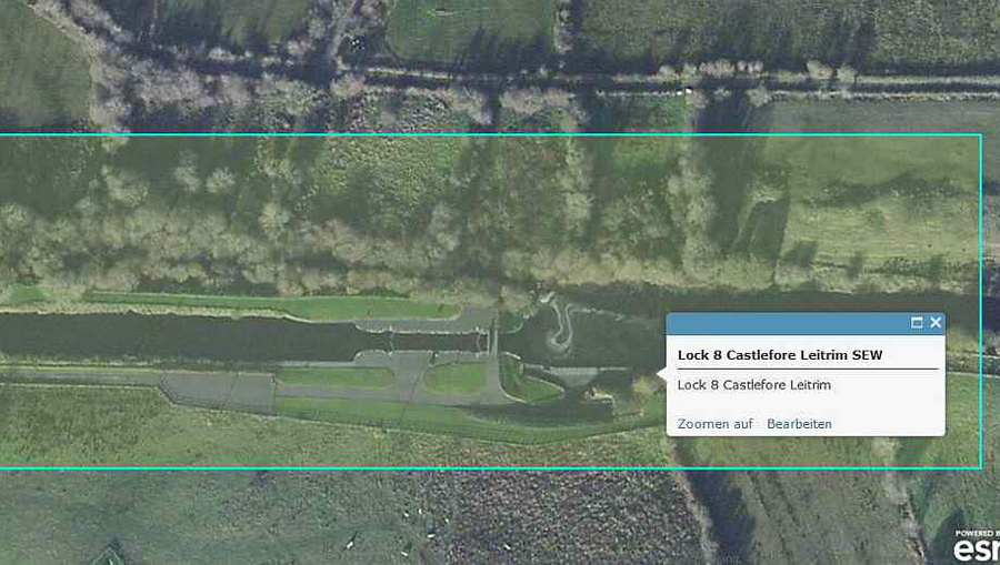 "Lock 9 Kilclare to Lock 14 Drumduff; © esri; powered by Esri; click to ""ArcGis Explorer"""
