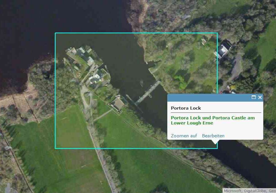 LLE-Portora Lock; © esri click to Prtora-Lock-Map esri""