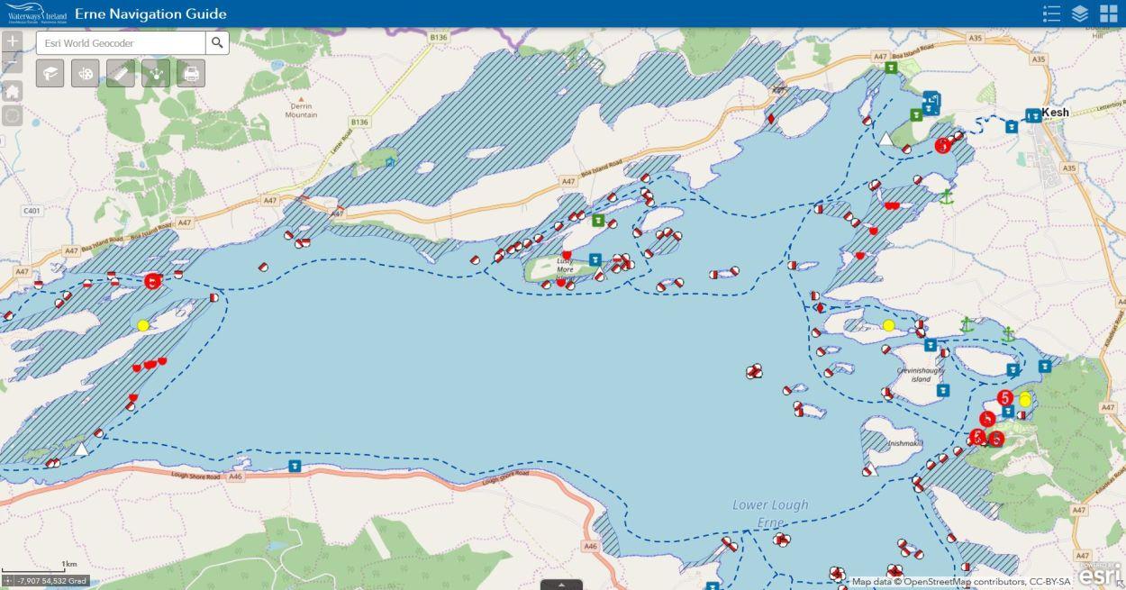 Hier geht es zur Erne Charts; © esri; click picture zur Erne Online Chart von Waterways Ireland