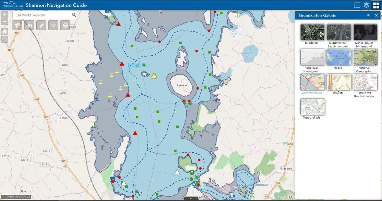 Grundkarten-Galerie mit 7 verschiedenen Charts; © esri; click zur Chartseite von Waterways Ireland