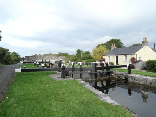 34th Lock and Clonony Bridge on the Grand Canal; © Copyright JP; click Picture to Geograph Website.