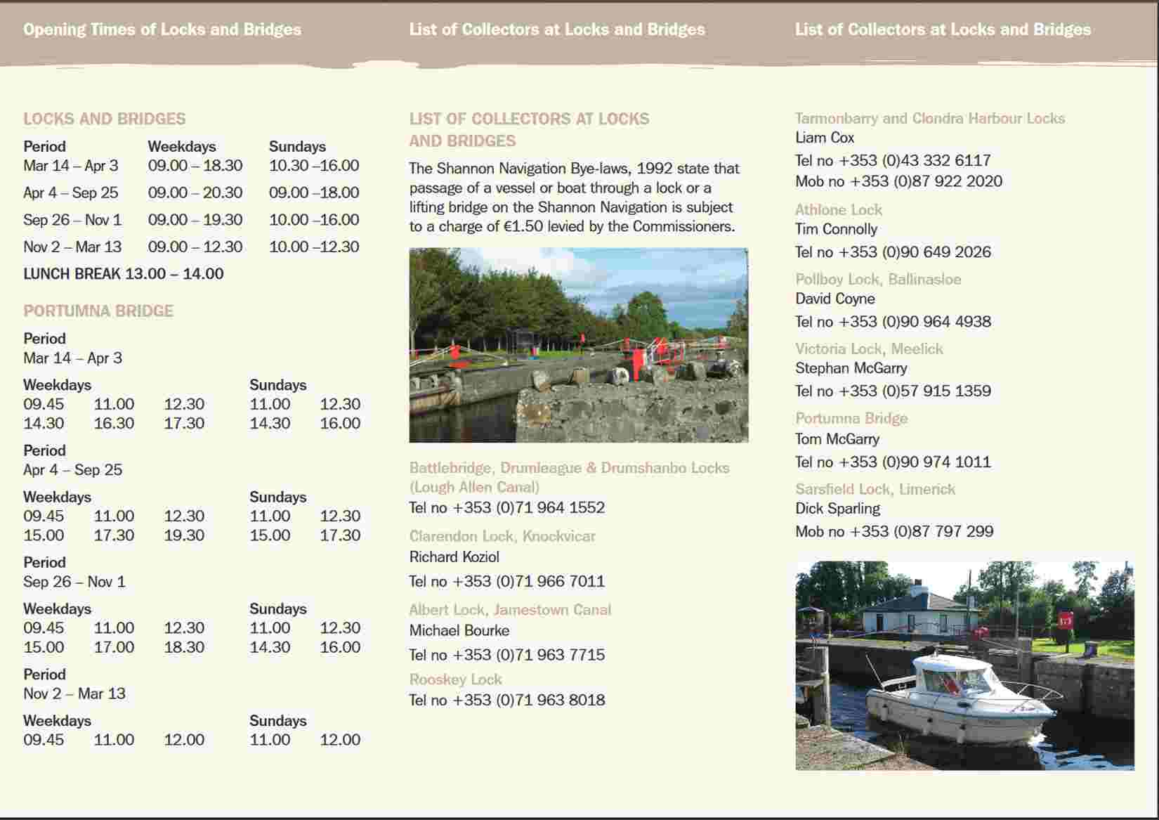"Opening Times for Locks and Bridges; click Picture to ""enlarge"""