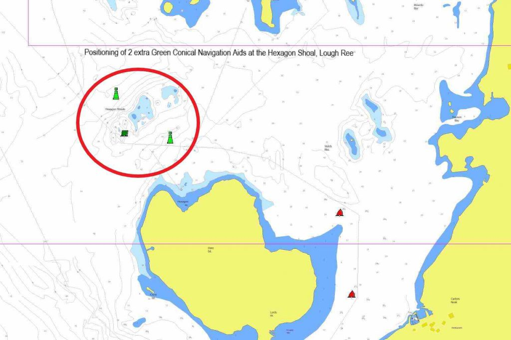 """Lough Ree Chart by Captain's Handbook ©; click to enlage """"Positioning of 2 extra Green Conical Navigation Aids at the Hexagon Shoal, Lough Ree"""""""