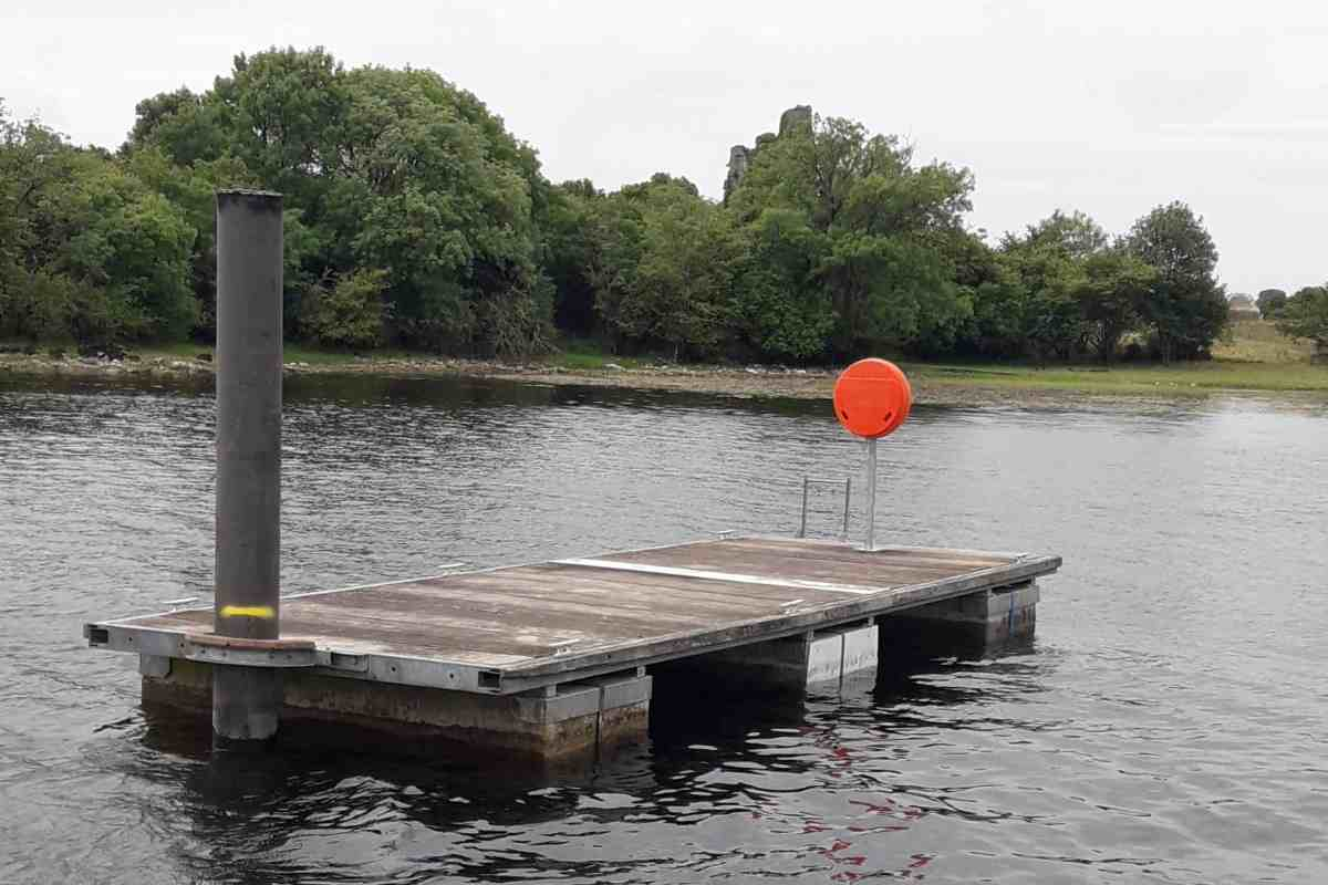 "Rindoon Floating Jetty; ;© Waterways Ireland;click picture for ""RINN DÚIN CONSERVATION AND MANAGEMENT PLAN with Picture"""