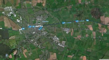 "Grand Canal at Lock 28 Tullamore; © esri; click to Arcgis Map ""Grand Canal at Lock 25, 26, and 28 Tullamore"""