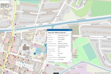 "ArcGis-Map Dublin Docks © esri Grand Canal click to ""Navigation Guide Waterwaysireland"""