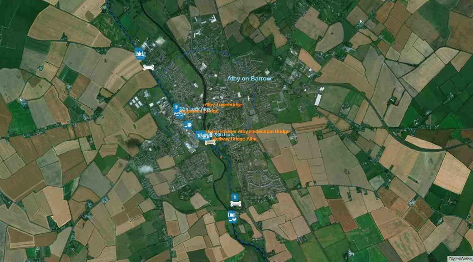 Athy ist eine Stadt im County Kildare in der Republik Irland: © esri