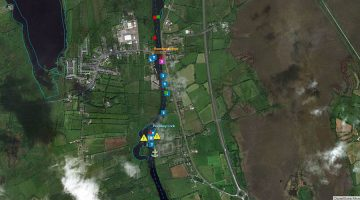 Rooskey Bridge & Lock; © esri; click to Shannon Map Rooskey