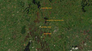 "Longford Marathon; © esri; click picture to ""esri Map Tarmonbarry, Rooskey & Begnagh Bridges"""