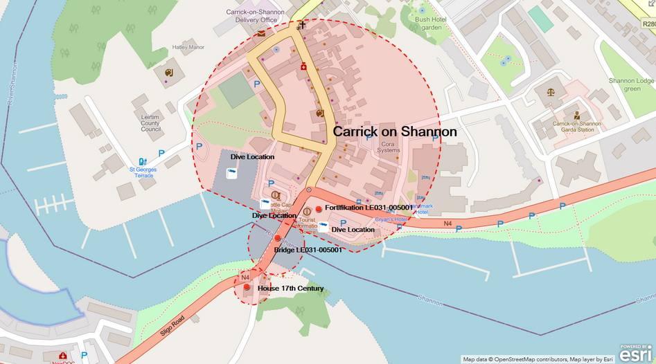 Dive Location Carrick on Shannon; Midshannon © esri