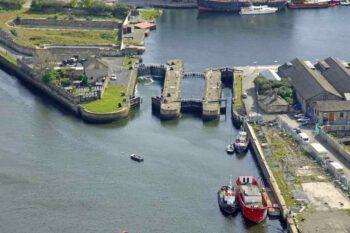 """Grand Canal Docks Dublin: © 2018 Marinas.com; """"Link to Website Grand Canal Sealock Dublin Ireland Marinas.com"""""""